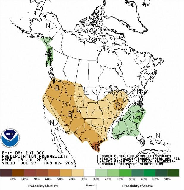 Chuvas nos EUA entre os dias 27 de julho a 2 de agosto - Fonte: NOAA