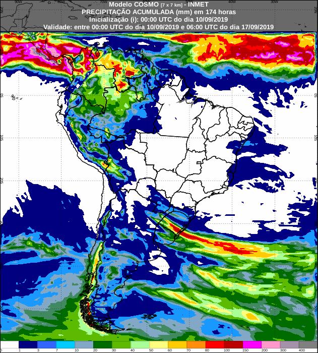 Mapa de precipitação acumulada para os próximos sete dias em todo o Brasil - Fonte: Inmet