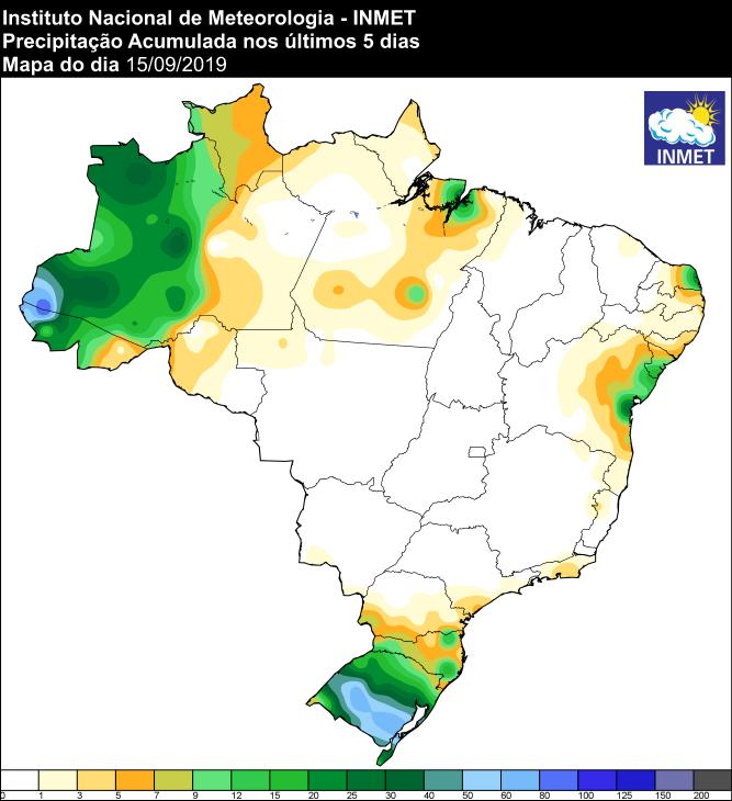 Mapa de precipitação acumulada dos últimos 5 dias em todo o Brasil - Fonte: Inmet