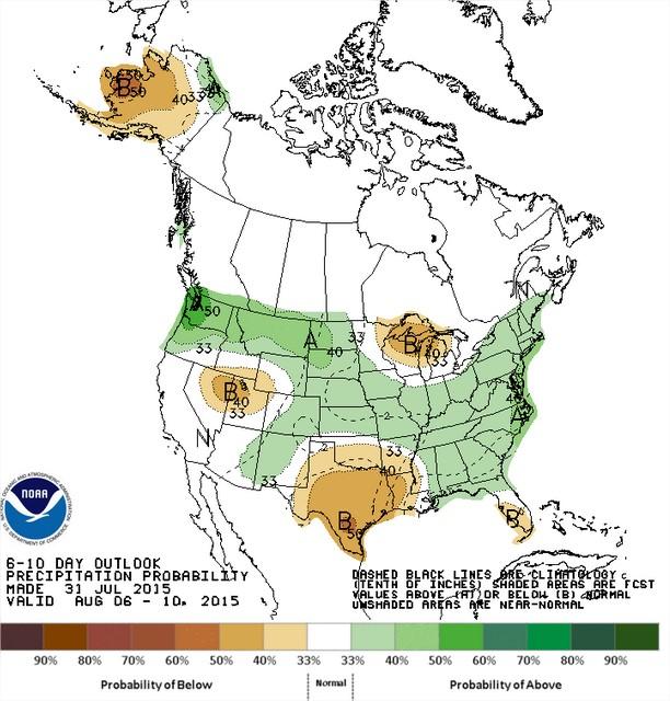 Chuvas nos EUA entre os dias 6 a 10 de agosto - Fonte: NOAA
