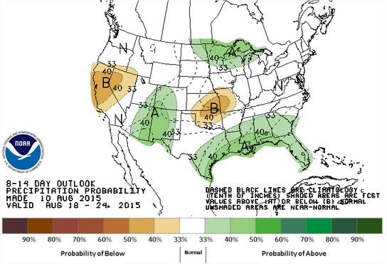 Previsão de chuvas nos EUA para 18 a 24 de agosto - Fonte: NOAA