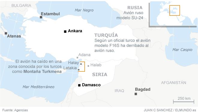 mapa derribo caza ruso en siria