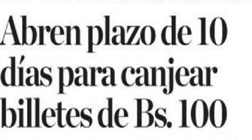 BCV desmiente a Nicolás Maduro y da 10 días para entregar los billetes de a 100 Bs.