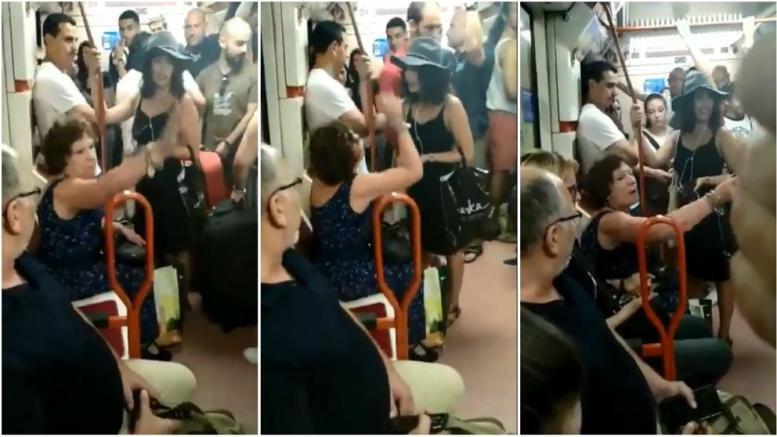 mujer racista en el metro de madrid