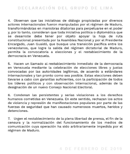 declaracion grupo de lima sobre venezuela 2