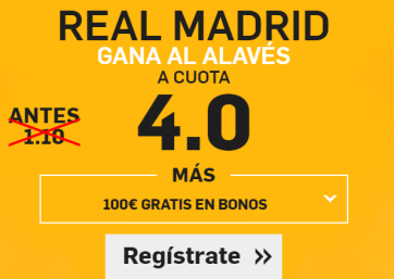 upercuota Betfair Real Madrid gana al Alavés