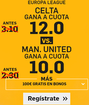 Supercuota Betfair Europa League Celta vs Man United