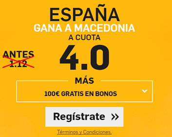 Supercuota Betfair España gana a Macedonia