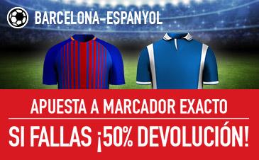 Sportium Barcelona Espanyol si fallas marcador exacto devolucion 50%