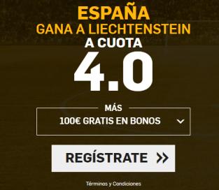Supercuota Betfair España gana a Liechtenstein a cuota 4.0