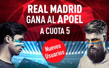 Supercuota Sportium Real Madrid gana al Apoel cuota 5