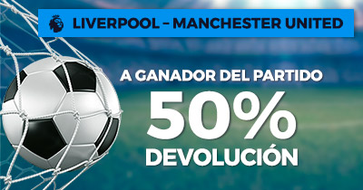 Paston Prmier League Liverpool - Manchester United, ganador del partido 50% devolución