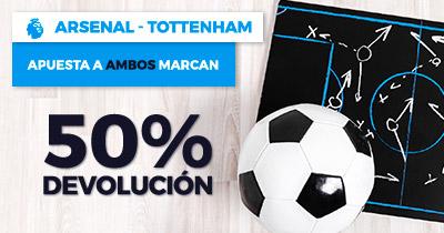 Paston Arsenal - Tottenham ambos marcan 50% devolucion