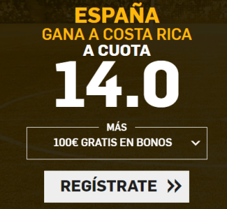 Supercuota Betfair España gana a Costa Rica cuota 14.0