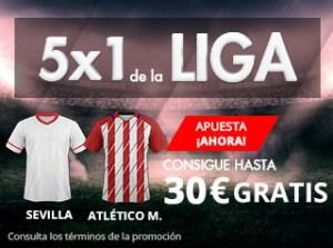Suertia 5x1 de la Liga Sevilla - Atlético M hasta 30€ gratis