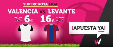 Supercuota Wanabet la liga Valencia vs Levante