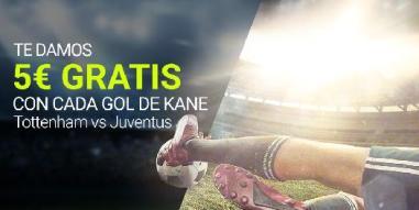 Luckia 5€ gratis por cada gol de Kane en Tottenham vs Juventus