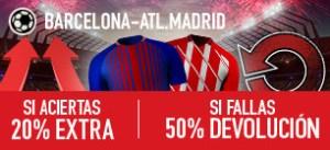 Sportium la Liga Barcelona - Atl. Madrid 20% extra si aciertas 50% devolución si fallas