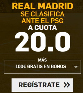 Supercuota Betfair Champions League Real Madrid - PSG