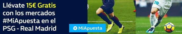 Williamhill Champions League 15€ gratis en PSG - Real Madrid