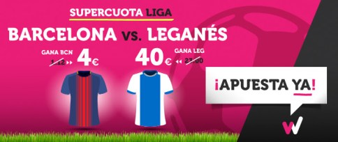Noticias Apuestas Supercuota Wanabet la Liga: Barcelona cuota 4 vs Leganés 40