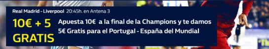 noticias apuestas William Hill 10€ + 5€ gratis Final Champions + Mundial