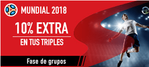 noticias apuestas Sportium Mundial 2018 10% extra en tus triples