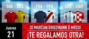 noticias apuestas Sportium Mundial Jueves 21 Si Marcan Griezmann o Messi te regalamos otra!
