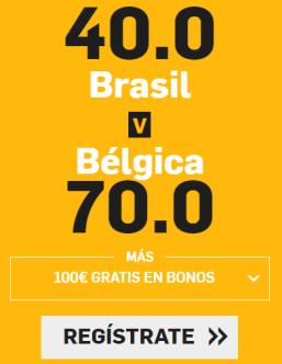 noticias apuestas Supercuota Betfair Brasil v Bélgica