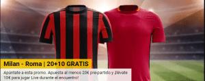 Milan v Roma 20€+10€ juega 20€ y llevate 10€ en Bwin