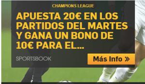 Champions League apuesta 20€ en los partidos del martes y gana un bono de 10€ en Betfair