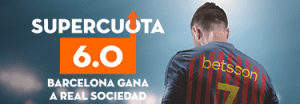 Megacuota 6 para el Barcelona gana a Real Sociedad en Betsson