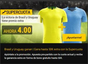 Megacuota 4.0 para la victoria de Uruguay y Brasil en Bwin