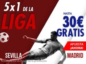 5 por 1 en la Liga hasta 30€ con el Sevilla en Suertia