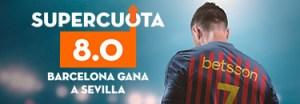 Megacuota 8.0 gana Barcelona,en Betsson