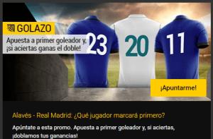 Golazo!Alaves-R Madrid,apuesta a primer goleador y si aciertas doblamos tus ganancias en Bwin