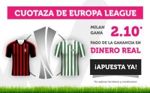 Cuotaza Europa League Milan gana 2.10 en Wanabet