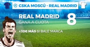Megacuota 8 para el Madrid+10€ si marca Bale en Champions con Paston