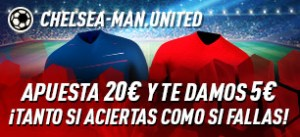 Chelsea-Manchester United apuesta 20€ y te llevas 5€ tanto si aciertas como si fallas en Sportium