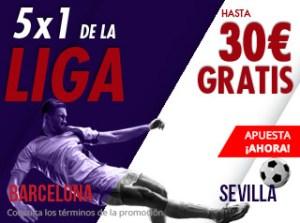 5 por 1 en la liga Barcelona-Sevilla Hasta 30€ gratis con Suertia