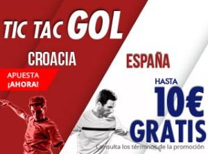 Tic-tac gol,hasta 10€ gratis con España en Suertia