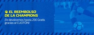 Reembolso de la Champions,hasta 25€ gratis con el cuoton de William Hill