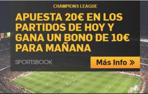 Apuesta 20€ en los partidos de hoy de champions y gana un bono de 10€ en Betfair