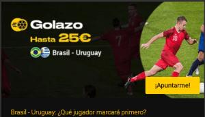 Golazo Brasil-Uruguay hasta 25€ en Bwin
