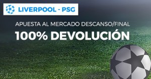 Liverpool-Paris SG apuesta dscanso/final si empatan devolucion en Paston