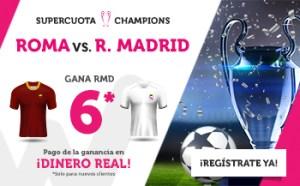 Megacuota champions 6 gana Madrid a Roma en Wanabet
