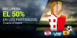 Recupera el 50% en los partidazos Croacia-España en Luckia