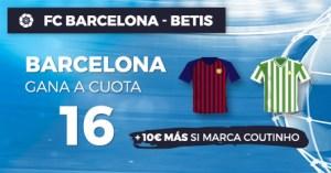 Megacuota 16 para el Barcelona en Liga+10€ si marca Couthino en Paston