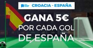 Croacia-España gana 5€ por cada gol de España en Paston