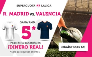 Megacuota 5 gana R.Madrid a Valencia en Wanabet